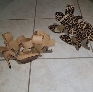 2 Pairs Aminah Abdul Jillil Bow Shoes sz 9